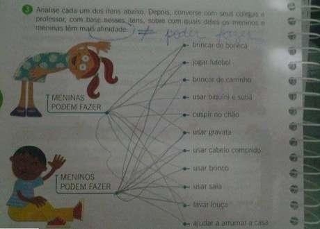 <p>Exercício de livro que cita atividades para meninos e meninas foi publicado no Facebook e causou polêmica entre internautas</p>