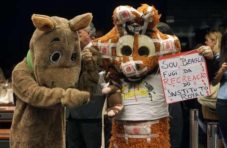 <p>Manifestantes fantasiados de cães fazem protesto durante reunião de comissão da Câmara para tratar do caso do Instituto Royal</p>