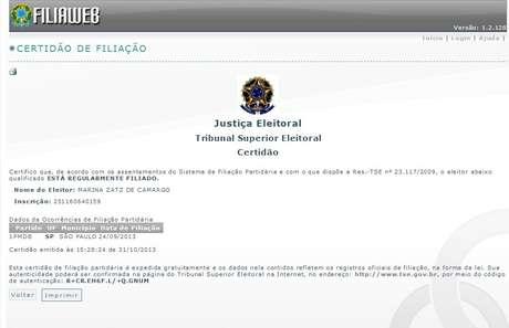 Certidão do TSE confirma filiação ao PMDB a tempo de lançar candidatura para as eleições de 2014