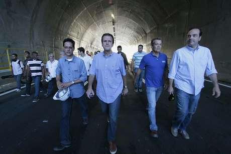 O prefeito do Rio de Janeiro, Eduardo Paes, inaugura a nova Via Binário do Porto