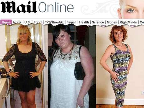 <p>Cassie antes de conhecer o ex-namorado; Cassie com 44 quilos a mais; e Cassie após terminar o namoro e eliminar os excessos</p>