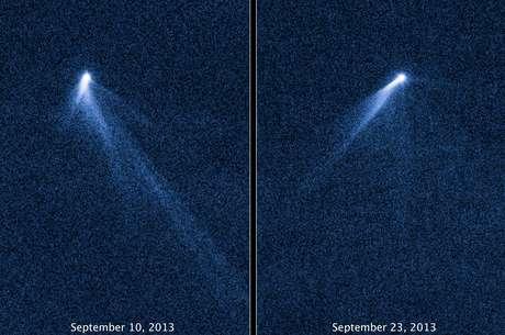 Imagem do Hubble mostra o asteroide P/2013 P5, que surpreendeu cientistas por ter caudas, como um cometa
