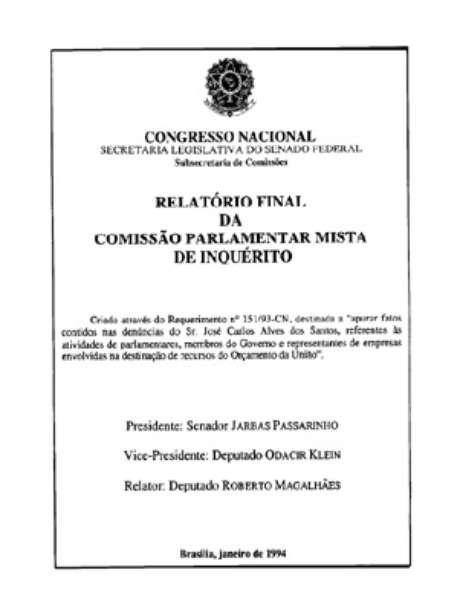 Capa do relatório da CPI que investigou o escândalo