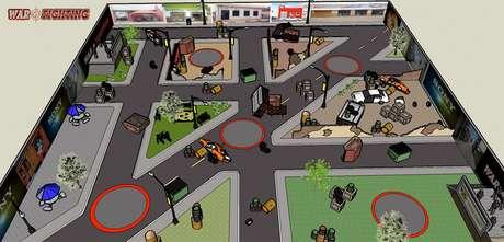 Será montado um cenário urbano para competição de paintball e com área para lutas simultâneas de MMA