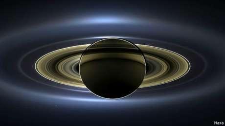 Imagem mostra o eclipse solar em Saturno