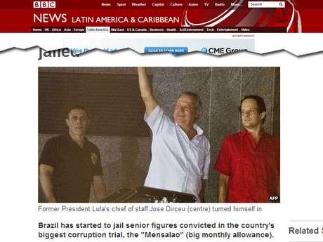 A rede de TV britânica BBC classificou o mensalão como o maior caso de corrupção do Brasil