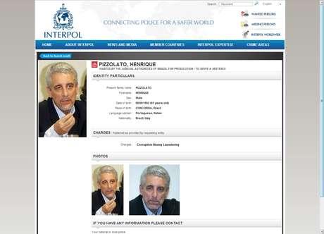 A Interpol emitiu um alerta de procura por Henrique Pizzolato, condenado por envolvimento no mensalão