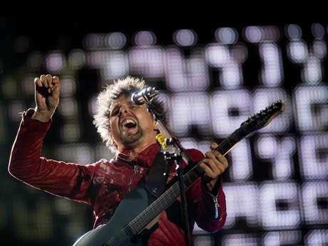 <p>O músicoMatthew Bellamy durante show da banda britânica na edição deste ano do Rock in Rio</p>