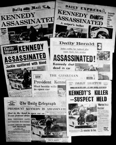 Capas de jornais britânicos da época destacam o assassinato de Kennedy