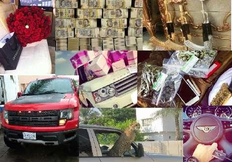 """A través de su cuenta @ZambadaSerafin, el hijo del socio de Joaquín """"El Chapo"""" Guzmán exhibe fotografías de fajos de billetes, relojes, diversos vehículos entre ellos un Bentley, un león y un guepardo, armas y droga."""