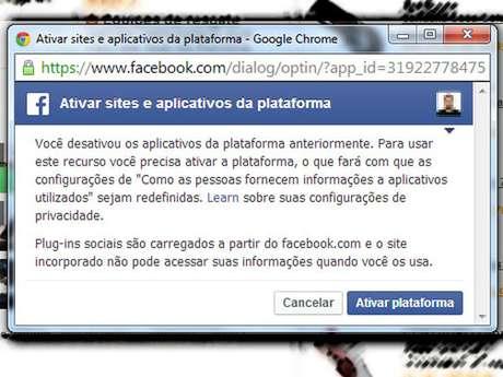 """Ao desativar a plataforma, o usuário não consegue mais curtir conteúdos em sites ou comentar em portais que usam o Facebook como forma de login. A mensagem """"ativar sites e aplicativos da plataforma"""" será recorrente durante a navegação do usuário na internet"""