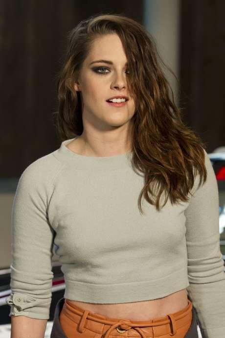 <p>Kristen Stewart durante apresentação da coleção em Dallas</p>