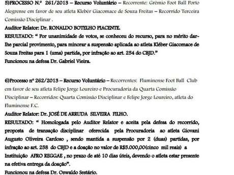 Julgamento (segundo na imagem) que teve absolvição de Felipe, do Fluminense, contou com atuação de Osvaldo Sestário