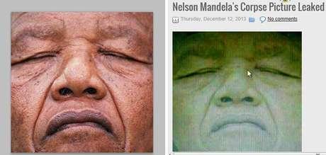<p>Suposta imagem de Mandela morto que circula nas redes sociais</p>