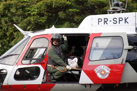 A vítima foi socorrida pelo helicóptero Águia da Polícia Militar