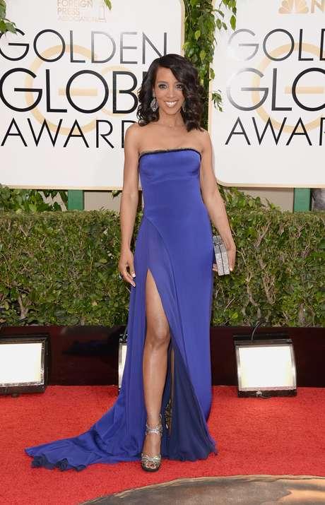 As celebridades exibiram elegância na chegada ao Globo de Ouro neste domingo (12), em Los Angeles. Na foto, Shaun Robinson