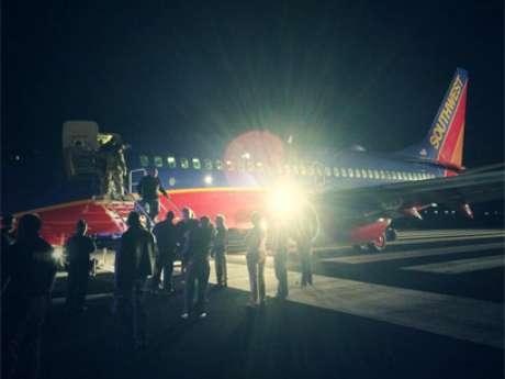Passageiros postaram fotos da aeronave após o pouso