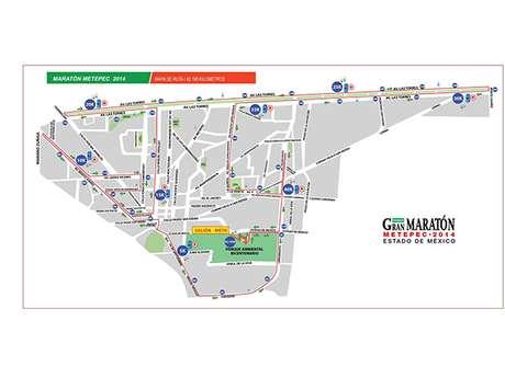 Ruta del Maratón Metepec 2014.