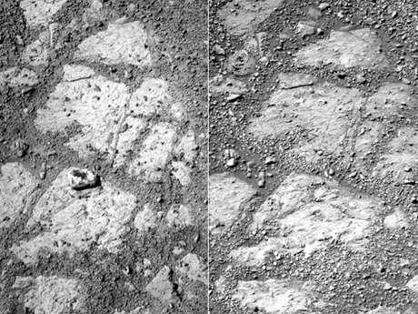 Imagem à esquerda mostra a rocha. Dias antes, na fotografia da direita, o objeto não aparecia