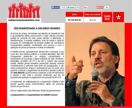 Página pede doações a condenado no mensalão e afirma que julgamento foi promovido por forças do atraso