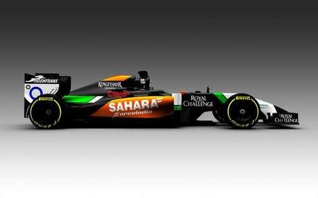 <p>Force India adoptó cortes en negro para elVMJ07, que tendrá como pilotos a Sergio Pérez y Nico Hulkenberg.</p>