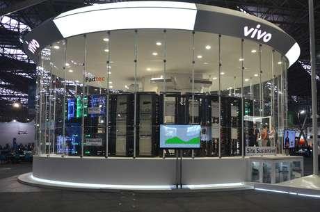 """<p>Equipamento montado dentro de um """"aquário"""" no centro da Arena Anhembi poderia fazer 625 mil chamadas telefônicas simultâneas</p>"""