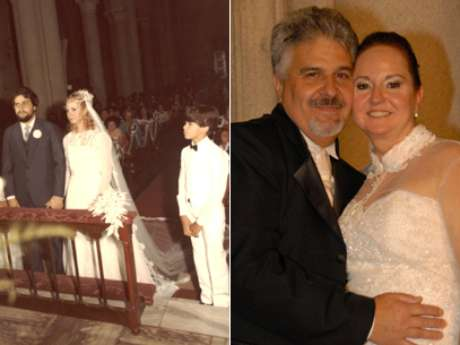 <p>30 anos depois: Elizabeth e Celso Favale comemoram Bodas de Pérola no Mosteiro São Bento, em São Paulo</p>