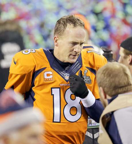 <p>Peyton Manning, Denver quarterback, after losing Super Bowl XLVIII.</p>