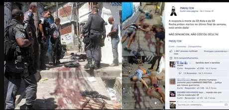 Página na rede social postou uma forte imagem de cinco corpos tombados e ensanguentados no chão da comunidade