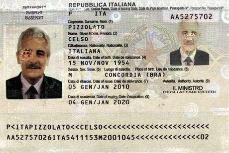 Pizzolato estava usando o passaporte do irmão, já falecido