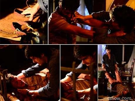 Laerte (Guilherme Leicam) agride o amigo com uma espora no rosto