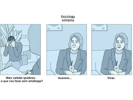 """<p>Exemplo de tirinha da """"Psicóloga Honesta"""" com ilustrações de Molg.H</p>"""