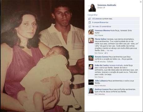 A jornalista Vanessa Andrade, 29 anos, filha do cinegrafista da Bandeirantes Santiago Andrade, postou no Facebook uma foto antiga da família