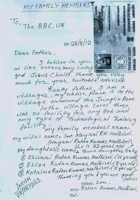 Carta enviada por Malbisoi à BBC