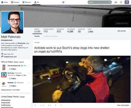 Novo perfil do Twitter destaca fotos e organiza os tweets em blocos