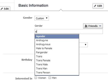 Campo customizável de gênero do Facebook tem 50 opções de termos
