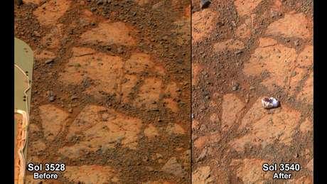 """Segundo a Nasa, o enigmático """"donut"""" não era mais que um pedaço que se soltou de uma rocha maior que tinha deslocado com suas rodas o robô Curiosity"""