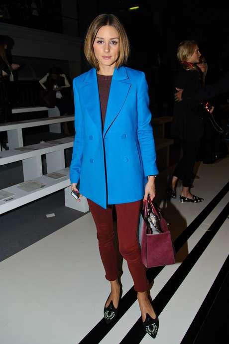 Olivia Palermo usou uma sapatilha de bico fino para assistir ao desfile da grife de bolsas Anya Hindmarch, nesta terça-feira (17), durante a semana de moda de Londres