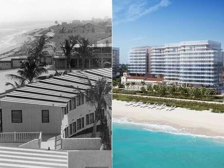 <p>Montagem mostra o clube privadoSurf Club na década de 1930 e o projeto do novo hotel a ser lançado em 2016</p>
