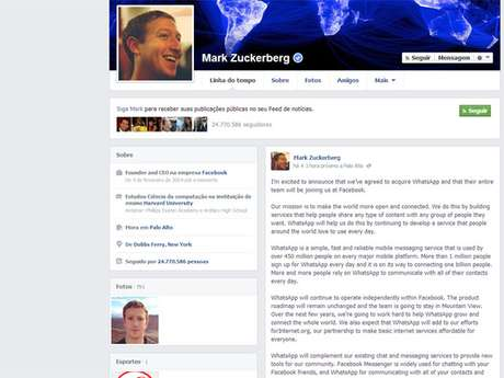 Zuckerberg comentou a compra em seu perfil