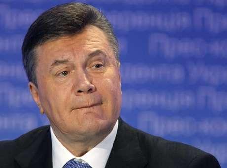 <p>Viktor Yanukovichdurante coletiva de imprensa recente em Kiev</p>