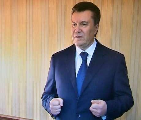 """O presidente ucraniano Viktor Yanukovytch durante discurso exibido pelo canal de televisão """"UBR"""""""