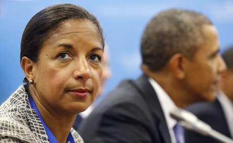 """Susan Rice ao lado de Barack Obama em 2013: """"isso não é sobre os Estados Unidos e a Rússia"""", disse ela sobre a revolta na Ucrânia"""