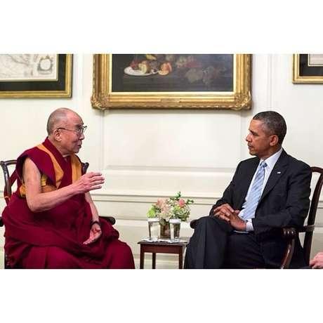 Presidente Barack Obama e Dalai Lama em conversa na Casa Branca