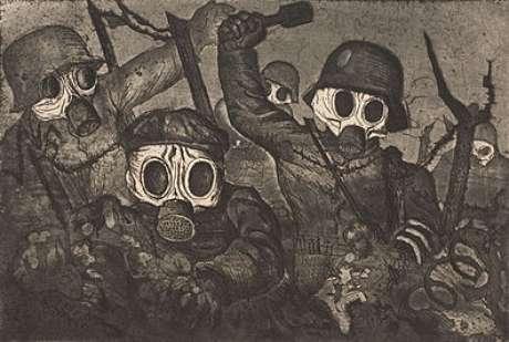 """""""Ofensiva de soldados com máscara contra gás"""""""