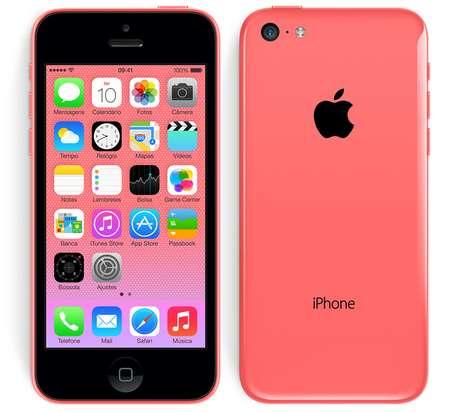 10º - iPhone 5C  Tem quase todas as mesmas especificações e características do iPhone 5, mas vem em uma variedade de caixas de plástico coloridas.