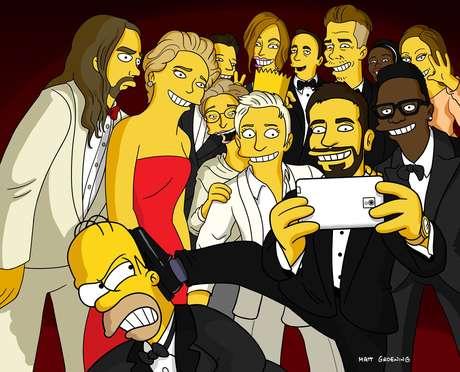 Criador dos Simpsons fez sua versão da selfie tirada durante o Oscar