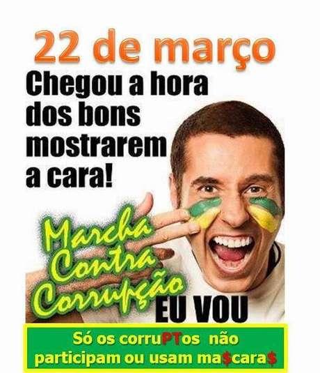 """Cartaz convoca """"os bons"""" para """"Marcha Contra Corrupção"""""""