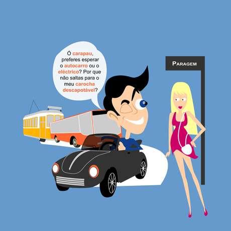 """<p>É um """"piroco""""(cantada) típico. """"Carapau""""seria uma versão bem cafajeste do """"gatinha""""ou gostosa"""". O """"autocarro""""não é um carro automático, mas sim ônibus para os portugueses. E """"eléctrico""""é o bonde tão comum por lá. Já o """"carocha""""é o bom e velho Fusca que, neste caso, é conversível, ou melhor, """"descapotável""""</p>"""