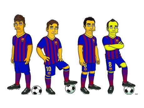 Neymar, Messi, Xavi e Iniesta foram desenhados no estilo Simpson